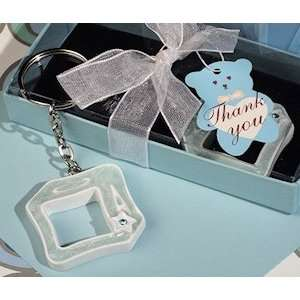 Blue Open Design Baby Block Keychain Favors Health