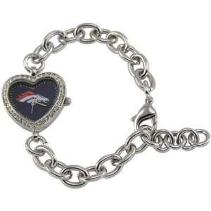 Denver Broncos Ladies Silver Heart Watch