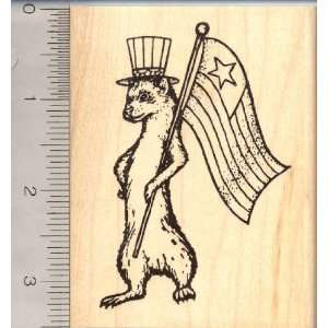 American Ferret Rubber Stamp, 4th of July Arts, Crafts & Sewing