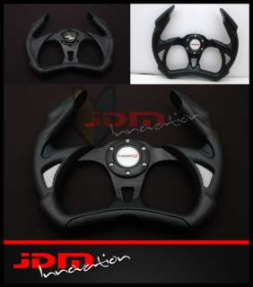 350mm Universal PVC Black Open Top Jet Style JDM Racing Steering Wheel