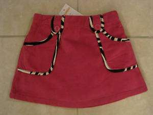 GYMBOREE GIRL WILD ONE PINK/ZEBRA TRIM VELVET SKIRT NWT