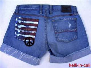 LUCKY BRAND AMERICAN FLAG PEACE LOVE Patch RILEY SHORTS