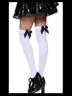 New 80s GOTHIC LOLITA Bad School Girl Black Bow Tights