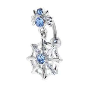 Spider and Web Dangle Solar Blue Gem Belly Button Ring Jewelry