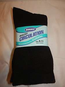 CIRCULATION DIABETES SOCKS BLACK 3 PAIRS SIZE 9 11 CREW SOCKS