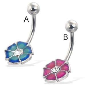 Colored 6 petal flower belly button ring with gem, blue