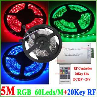 5m non waterproof 5050 rgb smd flexible led strip 60leds m 20 key rf