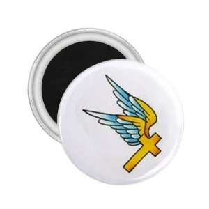 Tattoo Cross Fly Art Fridge Souvenir Magnet 2.25