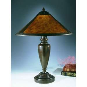 Dale Tiffany Round Mica Table Lamp with Antique Bronze
