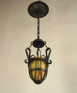 DAUM SIGNED FRENCH ART DECO CHANDELIER muller era