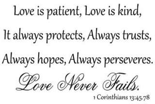 Love is patient kind protects Corinthians 1345.78 Vinyl Wall Art