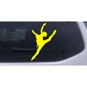 Dancer Silhouettes Car Window Wall Laptop Decal Sticker    Yellow 34in
