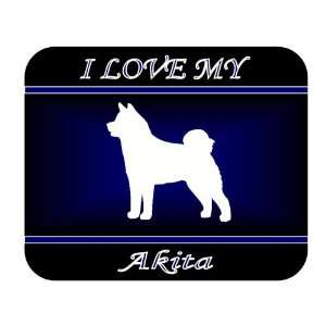 I Love My Akita Dog Mouse Pad   Blue Design Everything