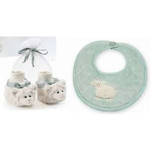 Bearington Bears Lamby Sheep Baby Bib and Booties Set