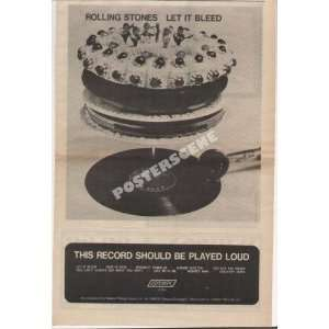 Rolling Stones Let It Bleed Original LP Promo Ad Poster