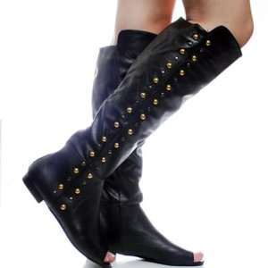 Black Designer Womens Knee High Boots Footwear