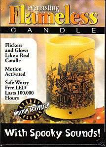 Flameless LED Candle Haunted House Spooky Sounds
