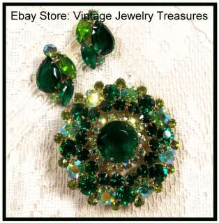 JULIANA Style Green Aurora Borealis Rhinestone Gold Pin Clip Earrings