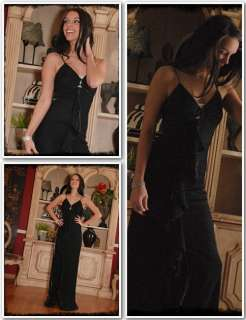 Empire Jet Black Silver Metallic Party Evening Gown