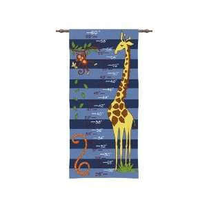 Boys Safari Animals Tapestry Growth Chart Wall Hanging 17