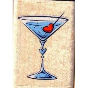 Wood Mounted Stamp MARTINI GLASS WITH HEART For Scrapbooking, Card