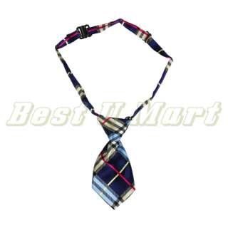 Adjustable Blue Grid Pet Dog Cat Handsome Bow Tie Necktie Collar 25cm