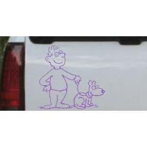 Man and Dog Stick Family Car Window Wall Laptop Decal Sticker