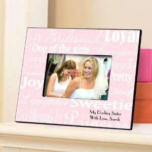 Personalized Junior Bridesmaid Gift Frame   White on Pink Baby