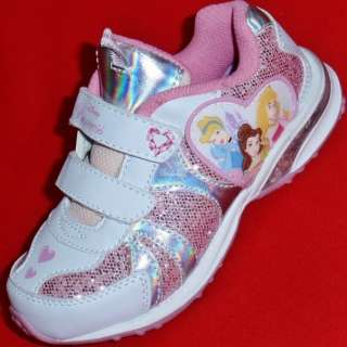 NEW Girls Toddlers DISNEY PRINCESS LIGHTS Pink/White Velcro Fashion