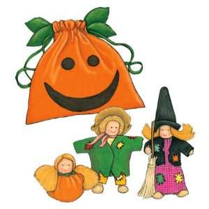 Dolls in Autumn Attire, with Pumpkin Face Drawstring Bag Toys & Games