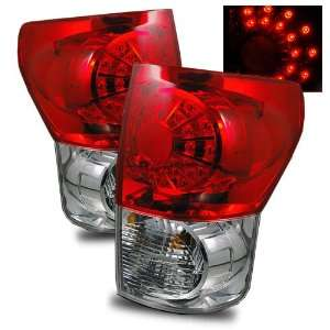 07 08 Toyota Tundra Red/Clear LED Tail Lights Automotive
