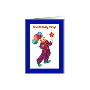 Colourful Clown Kids Birthday Party Invitation Card Card