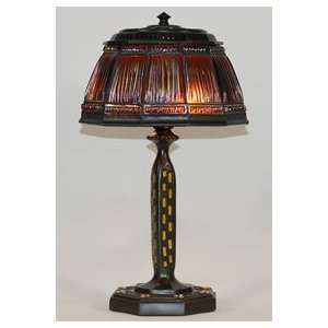Amber Shaded Mission Style Table Lamp
