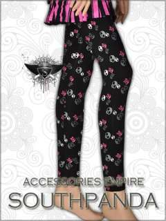 SL193 Black Skull Pattern Punk Tights Pants Leggings