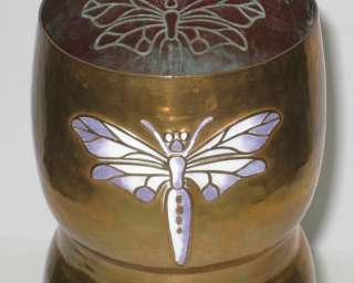 WMF Antique Art Nouveau Copper Vase w Enamel Dragonfly