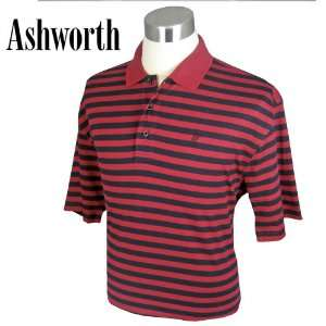 Ashworth Dual Stripe Mens Cotton Polo Shirt