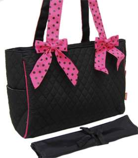 Black Pink Polka Dot Quilted Diaper Bag With Changing Pad Baby Tote