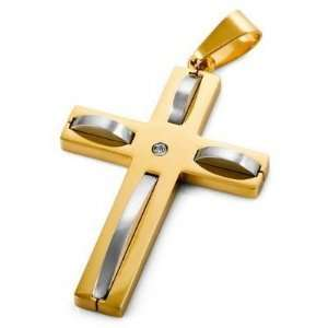 Mens Advent Stainless Steel Cross Pendant Necklace