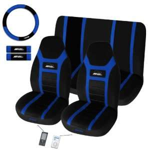 Super Speed Blue Universal Fit 7 Pc Bucket Seat Cover Set 2 Front Seat