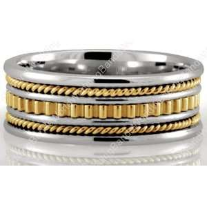 and 18K Gold Two Tone Handmade Wedding Rings 8.00mm Wide Jewelry