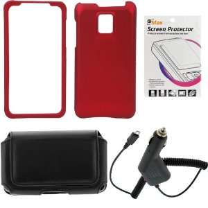 Snap On Protector Cover Case   Red + Clear LCD Screen Protector Film