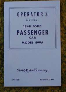 1948 Ford Passenger Car model 899A Operator Manual 48