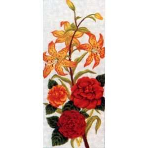 TIGER LILIES & ROSES NEEDLEPOINT CANVAS Arts, Crafts