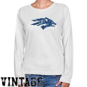 NCAA Nevada Wolf Pack Ladies White Distressed Logo Vintage Long Sleeve
