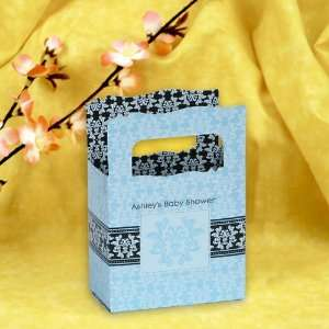 Damask Boy   Mini Personalized Baby Shower Favor Boxes