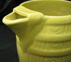 yellow ware barrel pitcher hand applied handle &ice lip