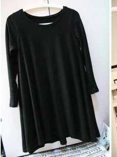 Korean Style Fashionable Casual Loose Pure Color Cotton Dress