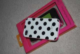 Kate Spade Hard iphone case cover White with Black polka Dot iphone 4