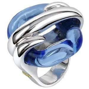 Masini Blue Square Murano Glass & Sterling Silver Ring USA