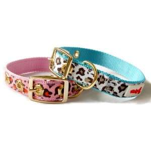 Designer Dog Pet Collar Leopard Nylon Pink/Blue 10 14